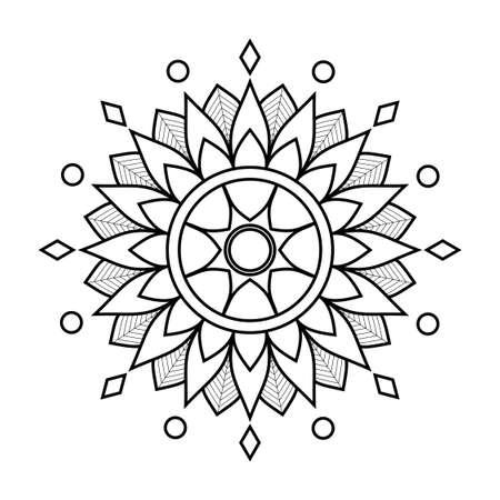 Contour Floral Mandala With Ornament. Decorative Elements, Oriental Pattern, Vector Illustration. Islamic, Arab, Indian, Moroccan, Turkish, Pakistani, Mystical, Ottoman Motifs. Coloring Book Page.