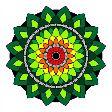 Floral Mandala With Colorful Ornament. Decorative Elements, Oriental Pattern, Vector Illustration. Islamic, Arab, Indian, Moroccan, Turkish, Pakistani, Mystical, Ottoman Motifs.
