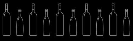 Seamless Pattern Of Bottles Of Different Shapes With A Narrow Neck. Glass Bottles For Various Drinks; Different Liquids. Vector Image On A Black Background.