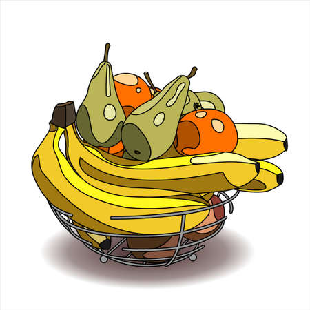 A Bowl of Fruit. A Lot Of Different Fruits. Banana, Pear, Orange, Mandarin, Apple. Vector Image on a white background. Stock Illustratie
