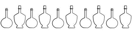 Seamless Pattern Of Bottles Of Different Shapes With A Narrow Neck. Glass Bottles For Various Drinks; Different Liquids. Vector Image Isolated On A White Background. Ilustrace