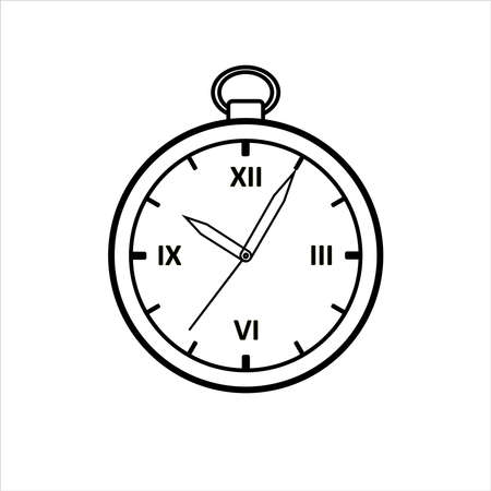 Vector Outline Round Clock. Vintage, Antique Clock With Roman Numerals. For Childrens Coloring Book. For Coloring. Isolated on a white background.