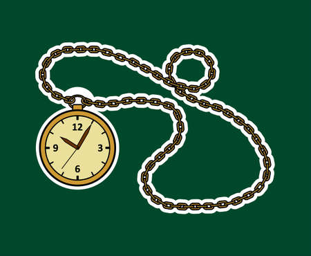 Vector Round Watch On A Chain. Gold Vintage Watch Sticker. Antique Watch With Arabic Numerals And A chain.