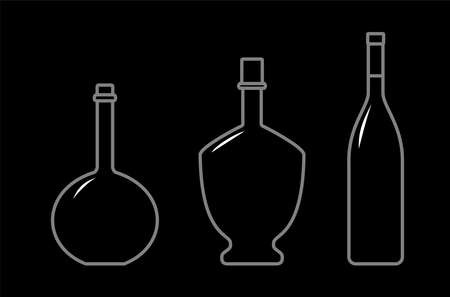 Set Of Bottles Of Different Shapes With A Narrow Neck. Glass Bottles For Various Drinks; Different Liquids. Vector Image On A Black Background.
