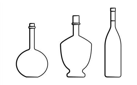 Set Of Bottles Of Different Shapes With A Narrow Neck. Glass Bottles For Various Drinks; Different Liquids. Vector Image Isolated On A White Background. Ilustrace