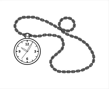 Vector Outline Round Watch On A Chain. Vintage, Antique Watch With Arabic Numerals And A chain. For Childrens Coloring Book. For Coloring. Isolated on a white background. Ilustrace