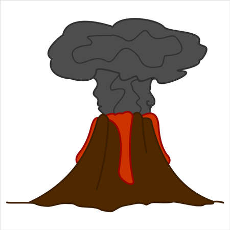 Volcano with Lava and a Column of Smoke. Volcanic Eruption. For Print. Modern flat Vector image Isolated on white background.