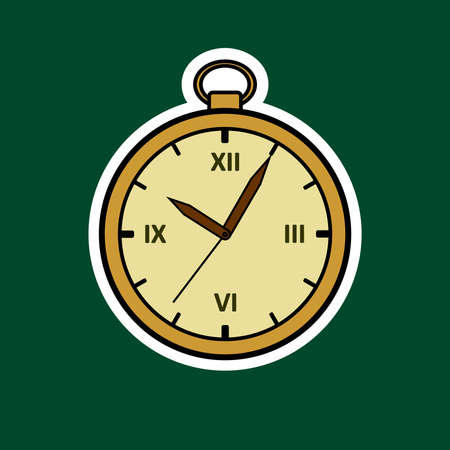 Vector Round Clock. Gold Vintage Watch Sticker. Antique Clock With Roman Numerals. Isolated on a white background.