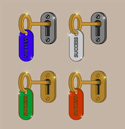 """The key to success. Key with key fob, which says the word """"success"""" in the keyhole. Vector illustration, isolated."""