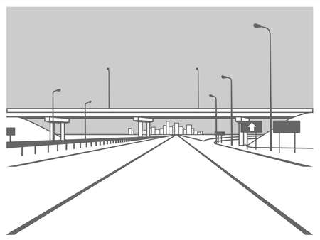 Overpass. Road Junction. The Road Goes Under The Bridge. Elevated Road. The Road to the City. Skyscrapers In the Distance. Stylized Vector Image. 일러스트