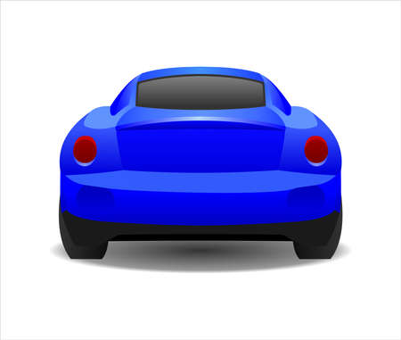 Blue Car, Rear view. Fast Racing car. Modern flat Vector illustration on white background.  イラスト・ベクター素材