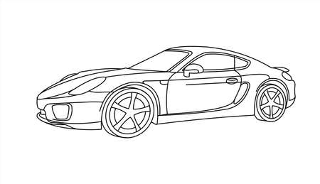 Outline Car, Side view, Three-quarter view. Car for coloring; for kids coloring book. Fast Racing car. Modern flat Vector illustration on white background. Illusztráció