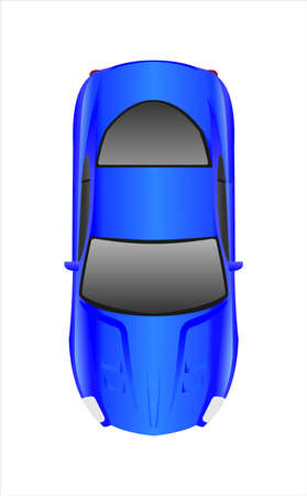 Blue Car, Top view. Fast Racing car. Modern flat Vector illustration on white background. 矢量图像