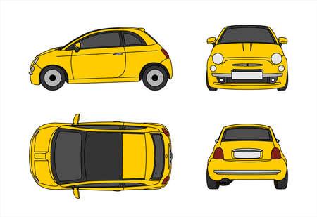 Vektorauto lokalisiert auf weißem Hintergrund, Seitenansicht; Vorderansicht; Rückansicht; von oben betrachten. Moderne flache Abbildung. Vektorgrafik