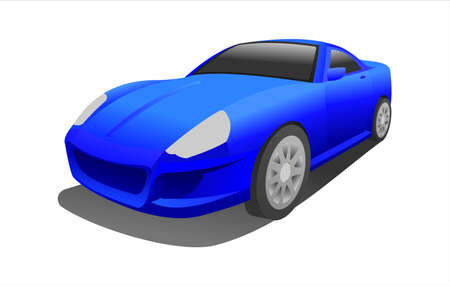 Blue Car, Three-quarter view. Fast Racing car. Modern flat Vector illustration on white background.