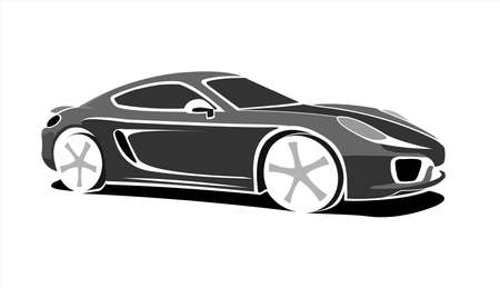 Black and white Stylized Car, Side view, Three-quarter view. Fast Racing car. Sport car. Modern flat Vector illustration on white background. 일러스트