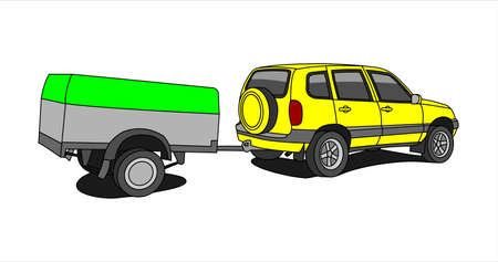 Vector yellow SUV With Trailer.