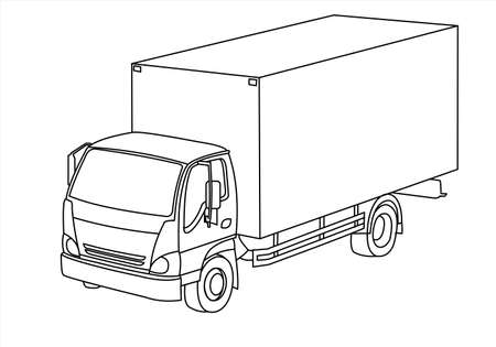 Truck, three-quarter view. Freight transportation. Modern flat vector illustration isolated, outline.