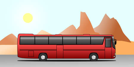 Bus Tour on Vacation. Travelling By Bus. bus ride. Red Bus On The Background Of Mountains. Modern flat vector illustration.