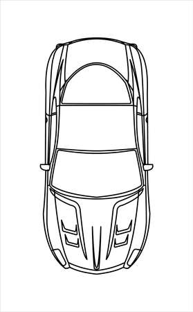 Outline Car Coloring Book for kids and adults. Fast Racing Car, Top view. Modern flat Vector illustration on white background. Illusztráció