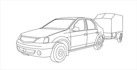 Vector Outline Car With Trailer, Front View, Three Quarter View.