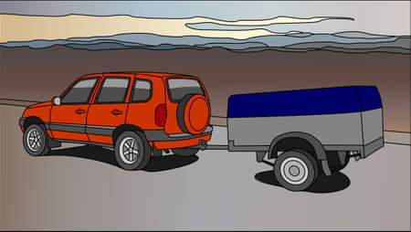 Vector SUV With a Trailer on the Background of Mountains or Hills