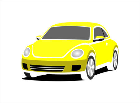 A Small Stylized Car, Front view, Three-quarter view. Yellow Car With A Rounded Body. Ð¡ompact Ð¡ity Ð¡ar. Vector Image Isolated On white background. Illusztráció