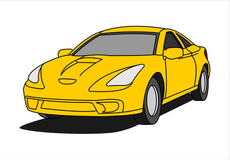 Yellow Car, Three-quarter view. Fast car. Modern flat Vector illustration isolated on white background.