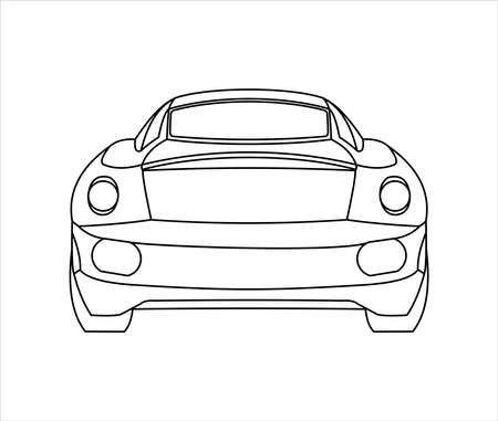 Outline Car Coloring Book For kids and adults. Fast Racing Car, Rear view. Modern flat Vector illustration on white background.