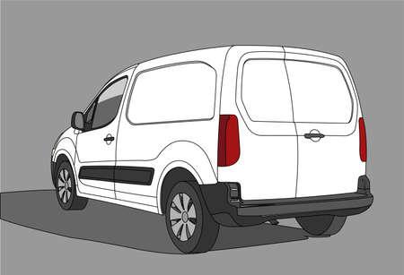 Van. Voiture pour le fret. Vue arrière. Vue de trois quarts. Illustration vectorielle plane moderne isolée sur fond blanc.