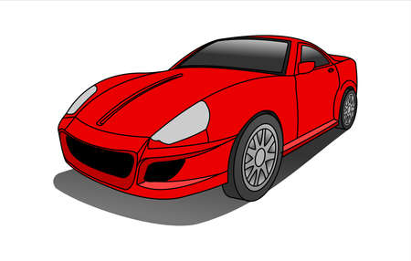 Red Car, Three-quarter view. Fast Racing car. Modern flat Vector illustration on white background.
