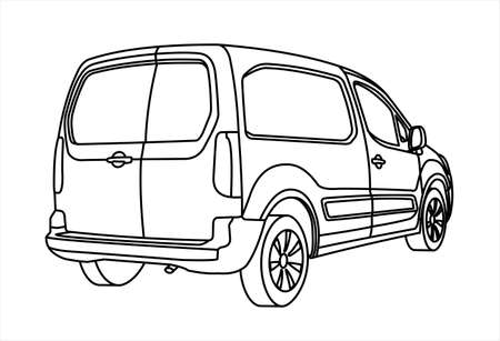 Van. Car for freight. Back view. View of three quarters. Modern flat vector illustration isolated on white background, outline. Illusztráció