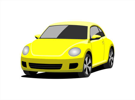 A Small Car, Front view, Three-quarter view. Yellow Car With A Rounded Body. Сompact Сity Сar. Vector Image Isolated On white background.  イラスト・ベクター素材