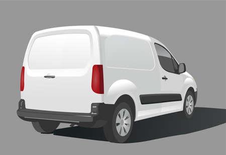 Van. Auto für Fracht. Rückansicht. Ansicht von drei Vierteln. Moderne flache Vektorillustration lokalisiert auf weißem Hintergrund. Vektorgrafik