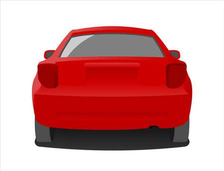 Passenger car, rear view. Fast car.