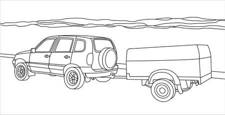 Outline Vector SUV With a Trailer on the Background of Mountains or Hills Illusztráció