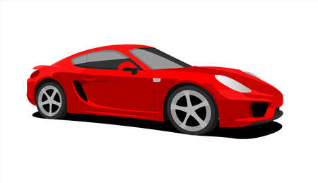 Red Car, Side view, Three-quarter view. Fast Racing car. Modern flat Vector illustration on white background.