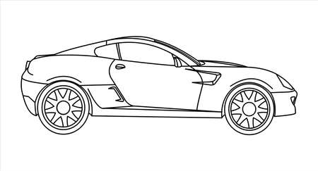Outline Car Coloring Book For kids and adults. Fast Racing Car, Side view. Modern flat Vector illustration on white background.