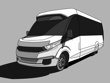 White Bus, three quarter view. Tourist bus. Sightseeing bus. Modern flat Vector illustration on gray background.