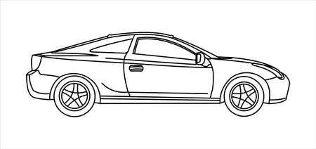 Passenger car, side view. Fast car. Outline.
