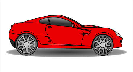 Red Car, Side view. Fast Racing car. Modern flat Vector illustration on white background. Illusztráció