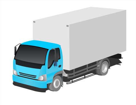 Truck, three-quarter view. Freight transportation. Modern flat vector illustration isolated.