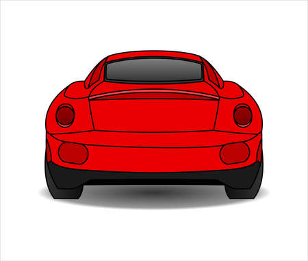 Red Car, Rear view. Fast Racing car. Modern flat Vector illustration on white background. Illusztráció