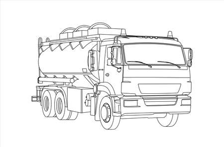 Gasoline Tank Truck; Tanker; Fuel truck. Car for Childrens Coloring. Modern flat Vector illustration on white background.