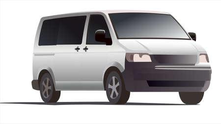 Minivan, driekwart uitzicht. Minibus. Werk auto. Auto voor een groot gezin. Personenvervoer. Moderne platte vectorillustratie.