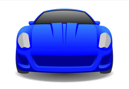 Blue Car, Front view. Fast Racing car. Modern flat Vector illustration on white background. 스톡 콘텐츠 - 138433220