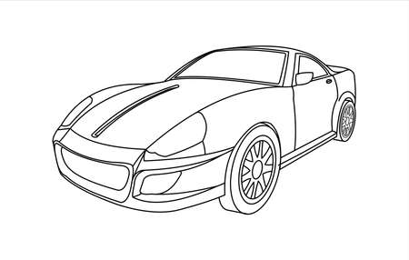 Outline Car For Coloring Book for kids and adults. Fast, Racing Car, Three-quarter view. Modern flat Vector illustration on white background.
