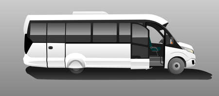 White Bus with an open door, Side view. Tourist bus. Sightseeing bus. Modern flat Vector illustration on gray background.