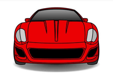 Red Car, Front view. Fast Racing car. Modern flat Vector illustration on white background.