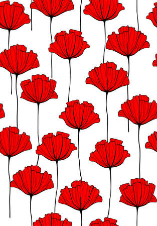 Vector Red Flowers Seamless Pattern. Red Poppy. Modern flat Vector Illustration, Background.